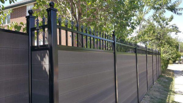 composite fencing with aluminum lattice